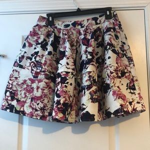 Express Multi color Floral Round/Full Skirt